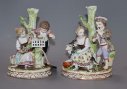 A pair of Dresden porcelain groups height 18cm