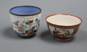 An 18th century Canton enamel cup and a Kutani cup