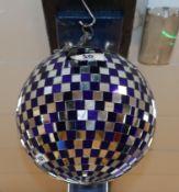 A blue mirrored ball