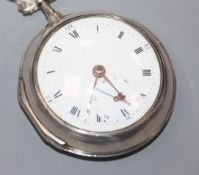 A George III silver pair-cased key-wind pocket watch, maker's name partially erased, No. 411.