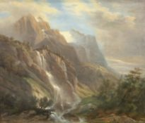 19th century English School, oil on canvas, The Wetterhorn from the West, 31 x 37cm