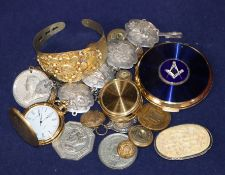 A small quantity of assorted items including watches, compact, buttons, jewellery, etc.