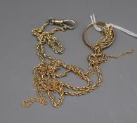 A yellow metal (tests as 14ct) rope-twist neck chain, a 9ct gold fine chain (a.f) and a 9ct gold