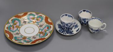 A group of 18th century Worcester coffee wares and an early 19th century English porcelain 'hydra'
