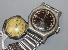 A 1930's/1940's metal cased Minerva manual wind wrist watch and a lady's 1920's silver Buren watch.