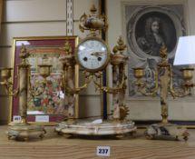 A French clock garniture