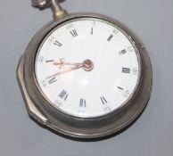 Hugh Hughes, Portella, a George III silver pair-cased key-wind pocket watch.