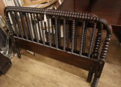 An early 20th century turned spindle bed frame W.128cm