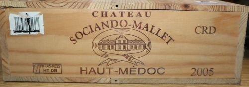 Six bottles of Sociando Mallet Haut Medoc 2005 (O.W.C.)