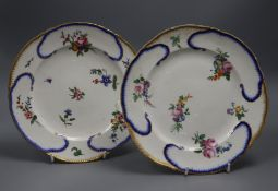 A near pair of Vincennes / Sevres porcelain plates, date codes for 1755/6 and 1770