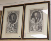 After Kneller, two engravings, Portraits of Archbishop Tillotson of Canterbury and Laurence Hyde,