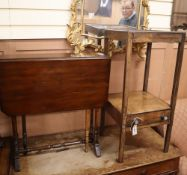 A George III washstand, a Sutherland table and a rosewood tea table