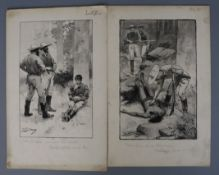 Walter Syndey Stacey (1846-1929). A set of 6 monochrome watercolour illustrations for The Yellow