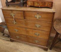 A George III oak chest of drawers W.102cm