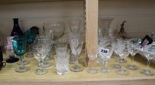 A quantity of mixed cut glasses, Bristol Blue decanter and ceramics