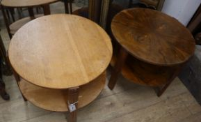 Two Art Deco style oak and walnut circular two tier occasional tables larger 61cm diameter