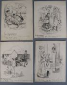 Alan Wright (1864-1959), 9 pen and ink illustrations for Professor Philanderpan and G.E. Farrow, c.