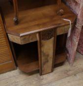 A French Art Deco octagonal walnut occasional table W.54cm