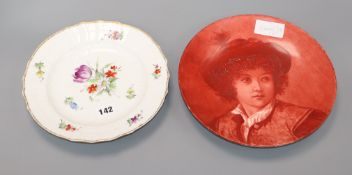A Minton outside decorated circular dish and a Copenhagen plate largest diameter 25cm