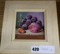 Raymond Campbell, oil on panel, 'Black grapes and plum, signed, 11 x 11cm