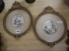19th century English School, pair of monochrome watercolours, Huntsmen in woodland and Figures