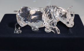 A large Swarovski rhino with fitted case and certificate, no. 08254 / 10,000