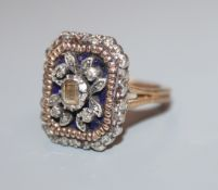 A 19th century yellow and white metal, enamel and diamond set octagonal dress ring, possible