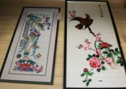 A Chinese embroidered silk picture and a Mayan style picture