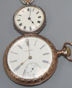 A Waltham gilt open-face pocket watch and a ladys' silver fob watch