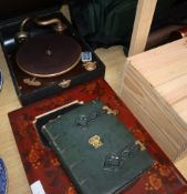 A Japanese lacquer album containing loose photos and watercolours and a Morocco leather album of