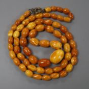 A single strand graduated oval amber bead necklace, gross 14 grams, 52cm.