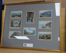19th century Swiss School, eight coloured aquatints, Alpine views, framed as one