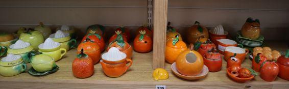 A Victorian pottery marmalade jar and Carltonware jars