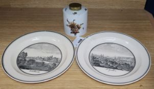 A 18th century Furstenburg tea caddy and two early 19th century Zell creamware named view plates