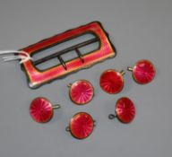 An Edwardian silver and pink enamel buckle with six matching buttons, Deakin & Francis,