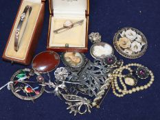 Mixed costume jewellery etc. including sterling silver and enamel bird brooch and a silver belt