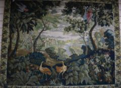 An 18th century style polychrome tapestry panel W.160cm