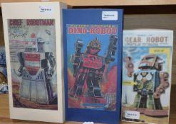 A KO Yoshiya tinplate battery-operated 'Chief Robotman' and two Horikawa SH tinplate/plastic robots,