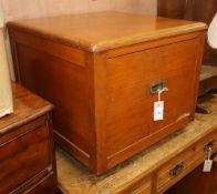 A Victorian teak box with drawer W.54cm