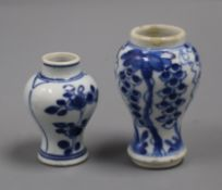 Two Chinese kangxi blue and white small vases tallest 9cm