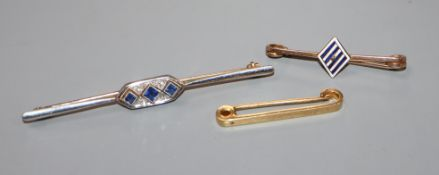 A 15ct yellow and white gold bar brooch set with three sapphires and rose diamonds and two other bar