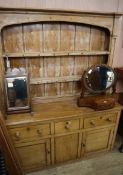 An early 19th century elm and pine dresser W.152cm