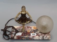 A French Art Deco spelter and marble ballerina table lamp height 20cm