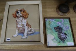 Kay Nixon, two watercolours, Portraits of a King Charles and a Dachshund, 34 x 28cm and 23 x 21cm