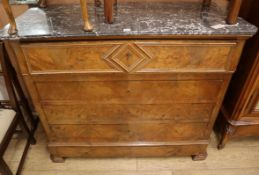 A 19th century French marble top burr wood secretaire commode W.129cm