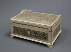 A 19th century Indian export ivory box width 13.5cm