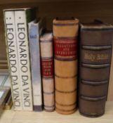 Two half calf ledgers, Dali and da Vinci books and a Victorian leather bound bible