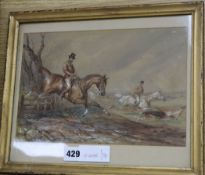 Manner of Henry Alken, watercolour, Hunting scene 'The Chase', 18 x 28cm