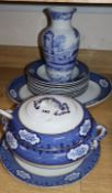 A Losol ware 'Cranford' soup tureen and cover and ladle, meat dish and 10 soup plates and a Spode