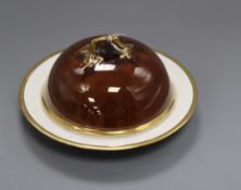 A Baguley Rockingham Works muffin dish and cover height 12cm